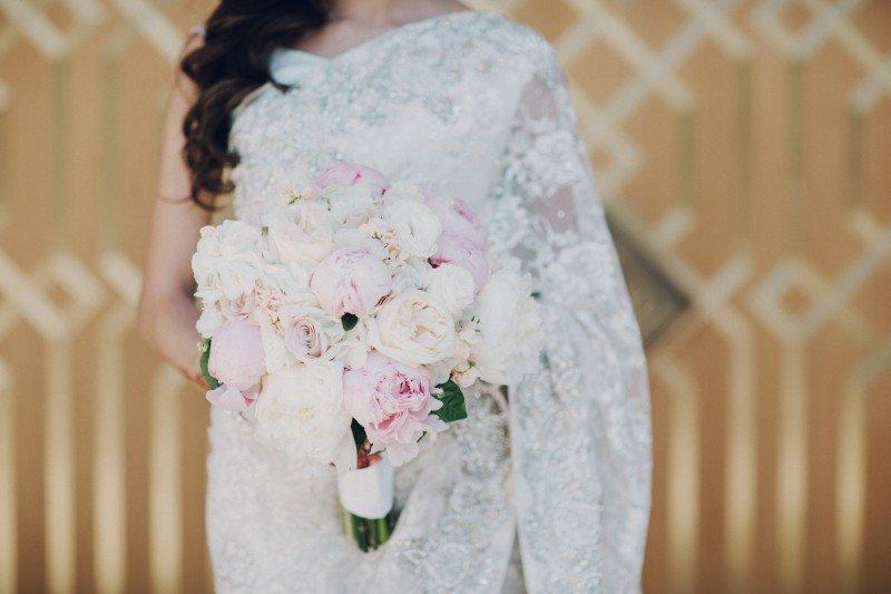 Blush pink peony bridal flowers
