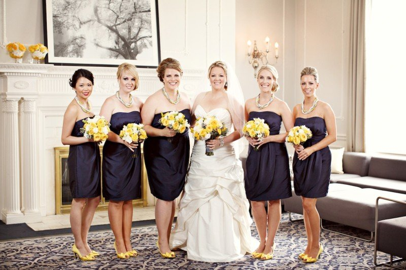 Bridesmaids navy dresses