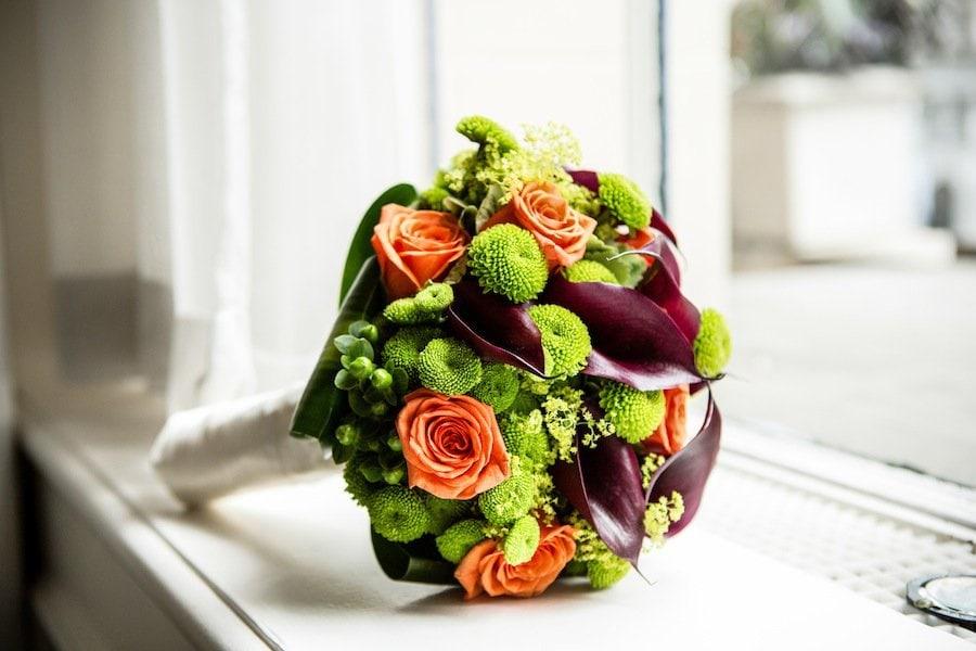 Green and Orange bridal boquet