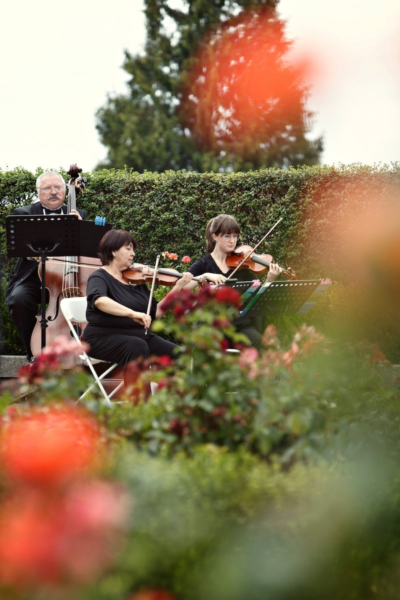 String trio wedding UBC Rose Garden wedding