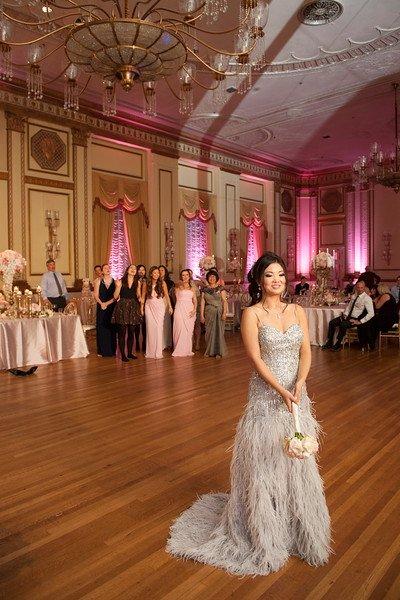 wedding-hotel-vancouver-bride-evening-gown-bouquet-toss