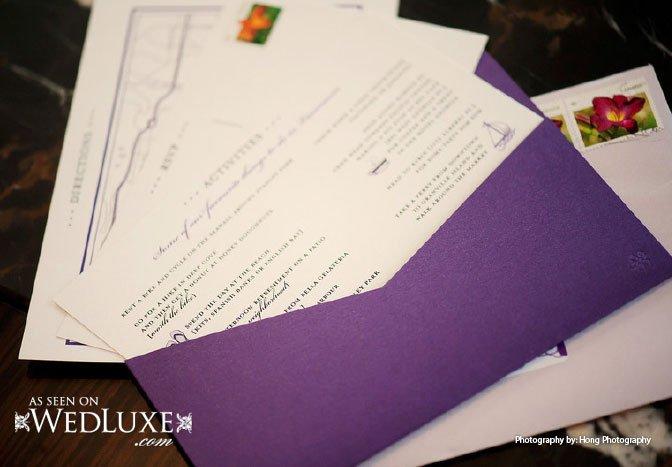 Zing purple wedding invitations