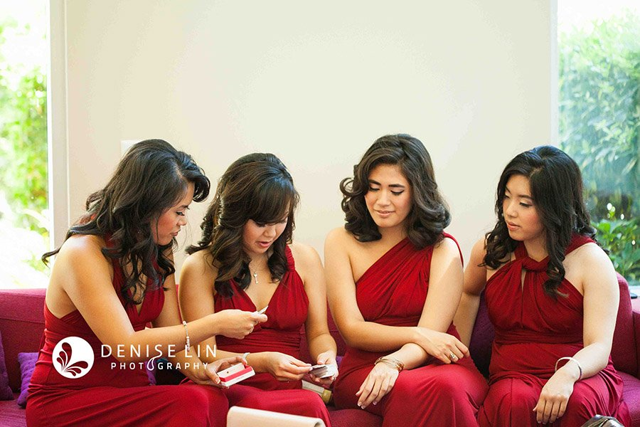 bridesmaids red dresses