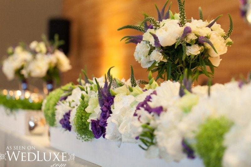 green purple white wedding flowers