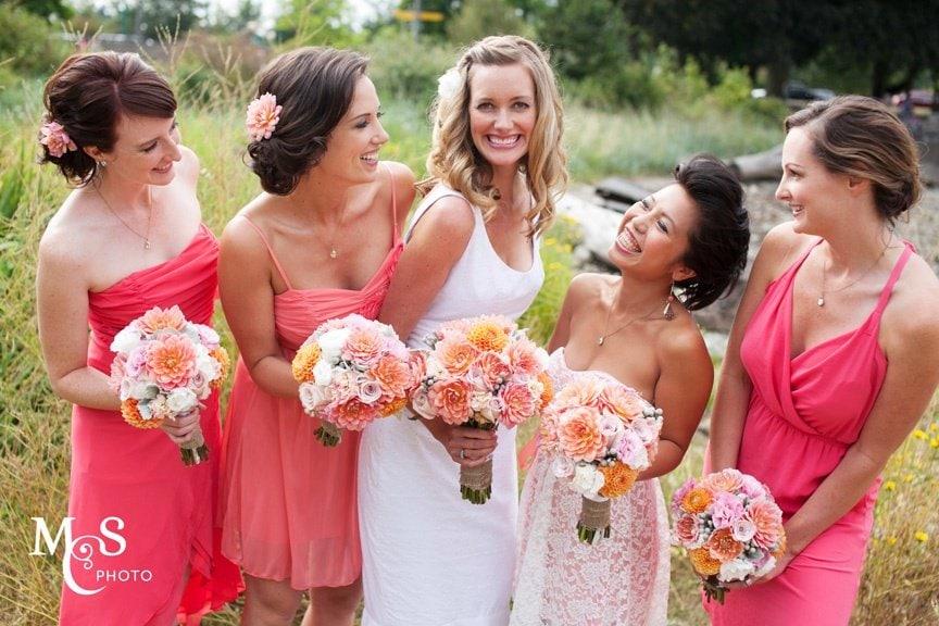 pink coral bridesmaid dresses