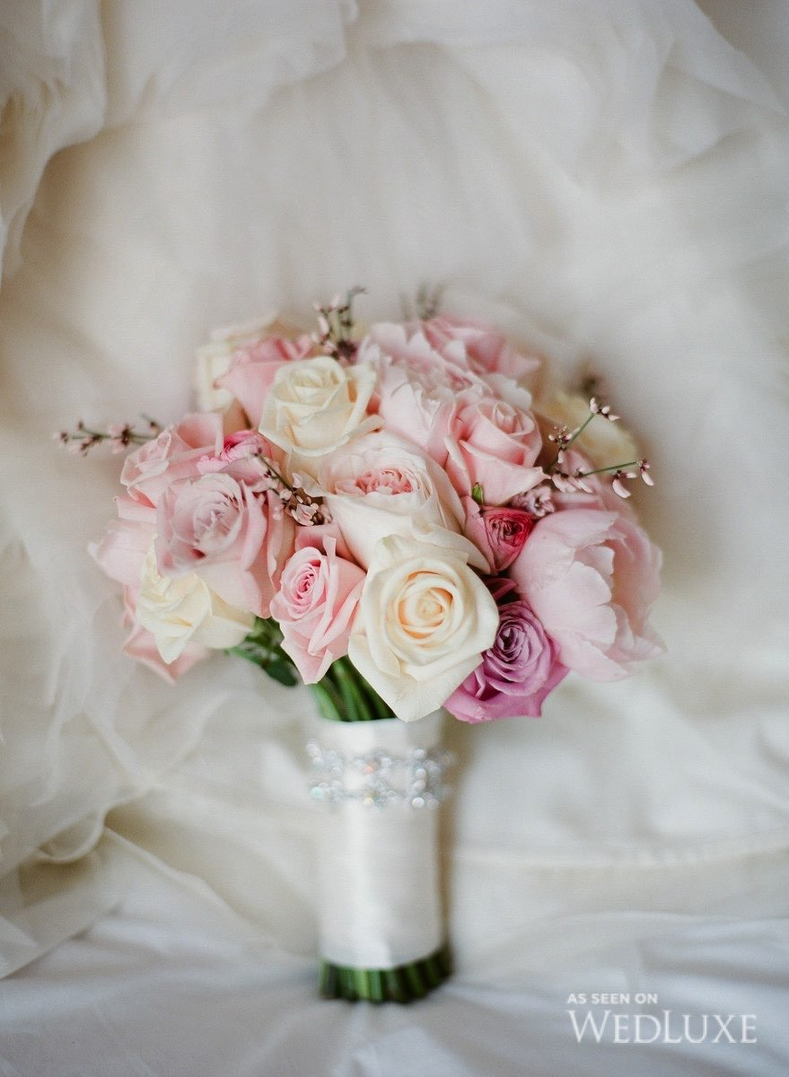 pink cream and white rose bouquet