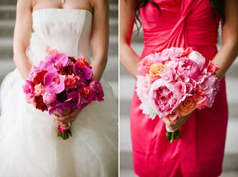 pink peonies wedding flowers