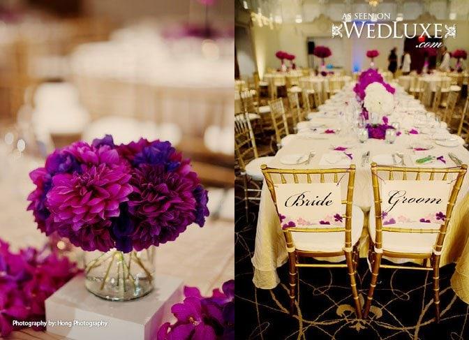 purple wedding bride and groom