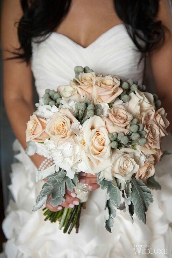soft peach grey sage flowers wedding