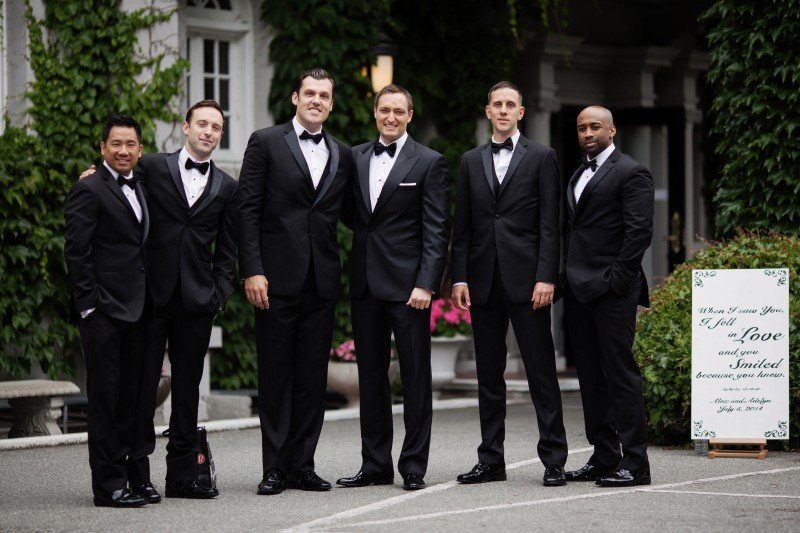 suit and bowtie wedding