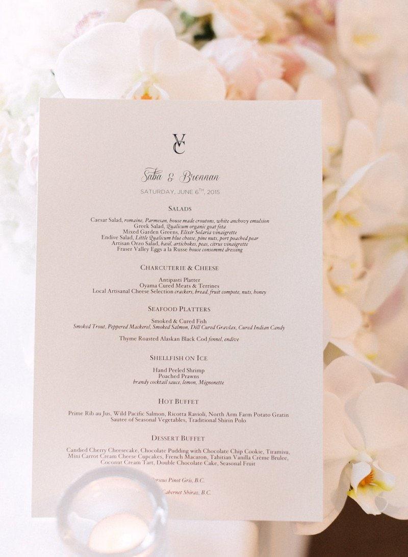 vancouver club wedding menu