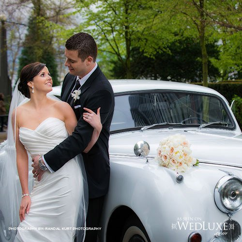 vintage white limo wedding