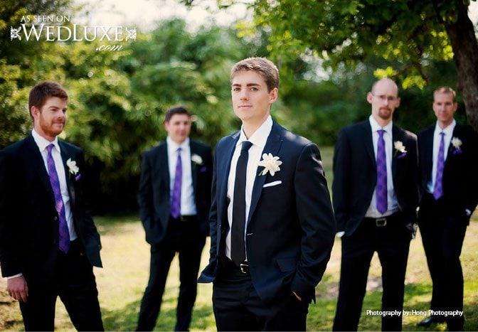 wedding purple groomsmen