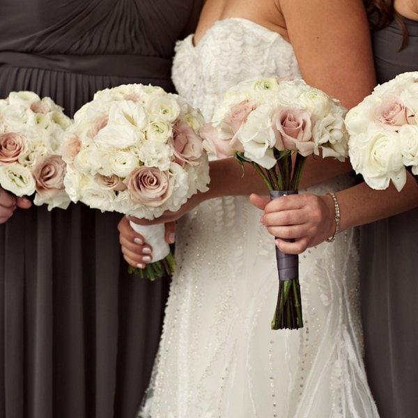 white cream bridal bouquets