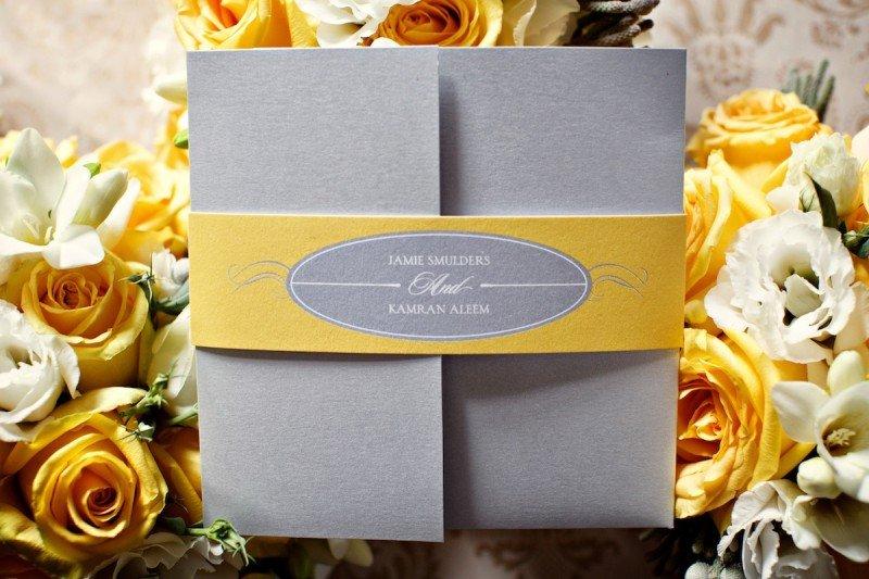 yellow and grey wedding invite Vancouver Wedding Planner Alicia Keats
